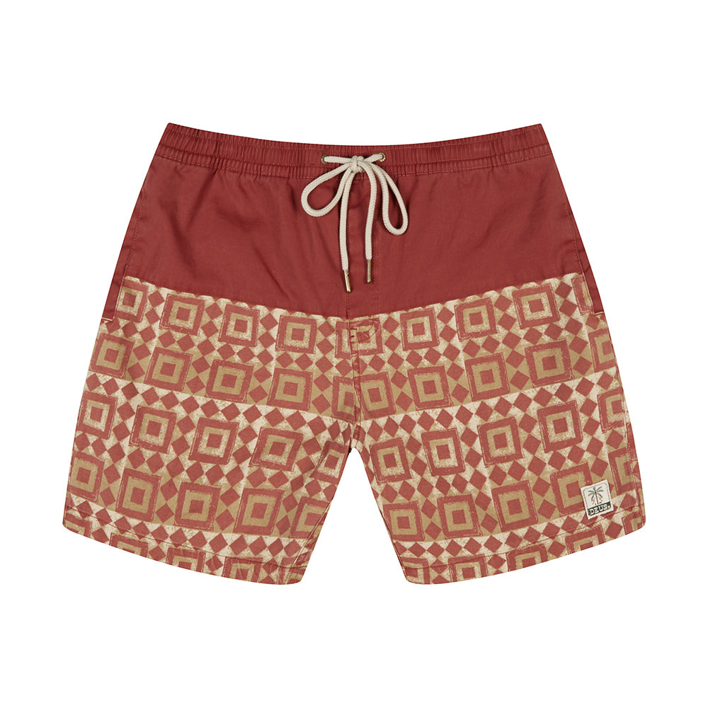 Sandbar Breeze Blocks Boardshort - Red Ochre
