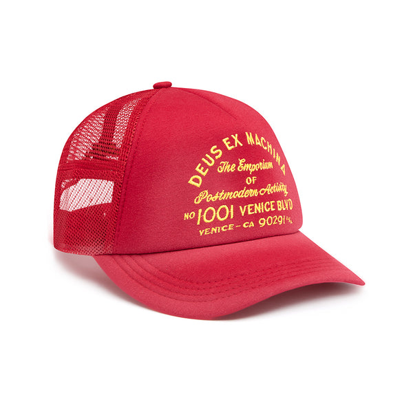 Bleached Venice Trucker Hat - Carmine