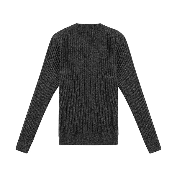 Mixed Yarn Crew Knit - Black Mix