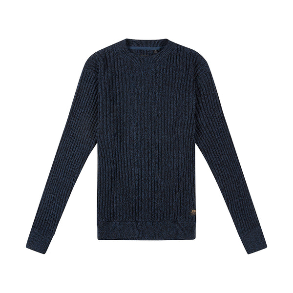 Mixed Yarn Crew Knit - Navy Mix