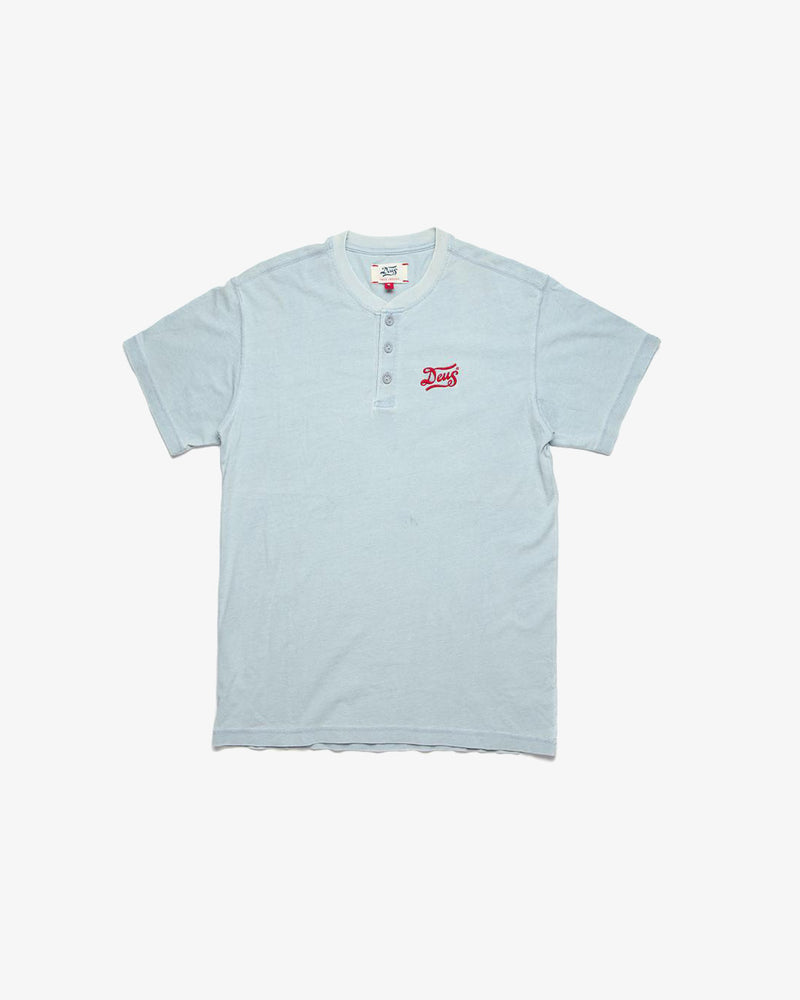 Flag Indigo Henley Tee - Light Bleach
