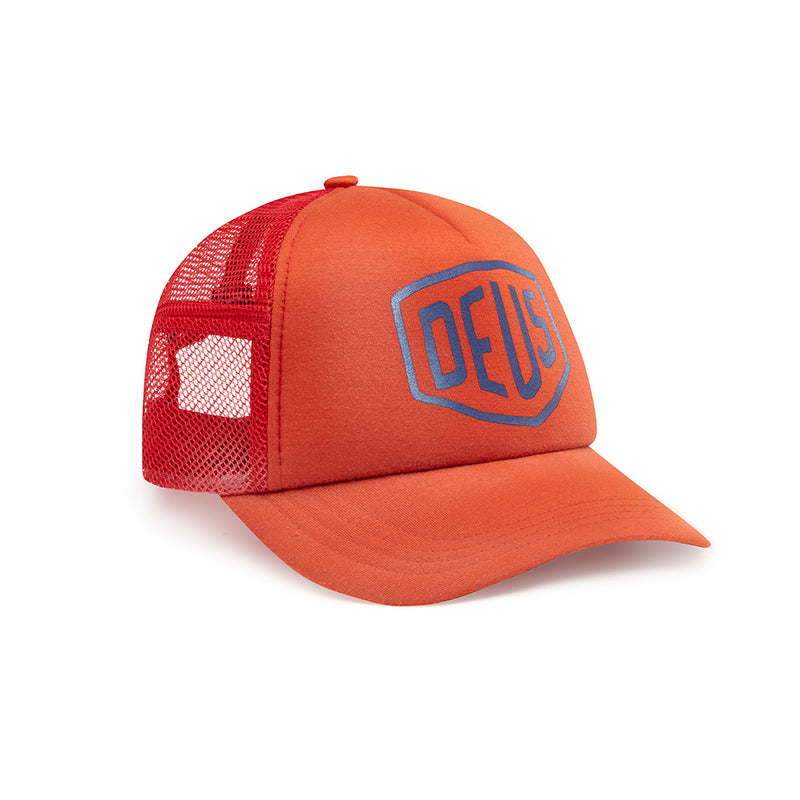Bleached Shield Trucker Hat - Red Clay