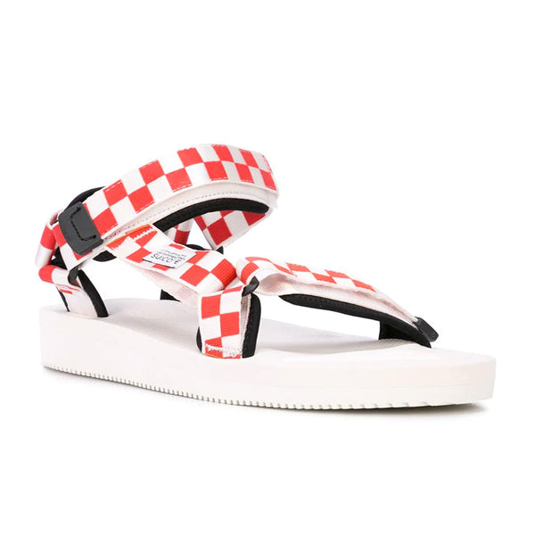 Suicoke Check Print Sandals - Red/White