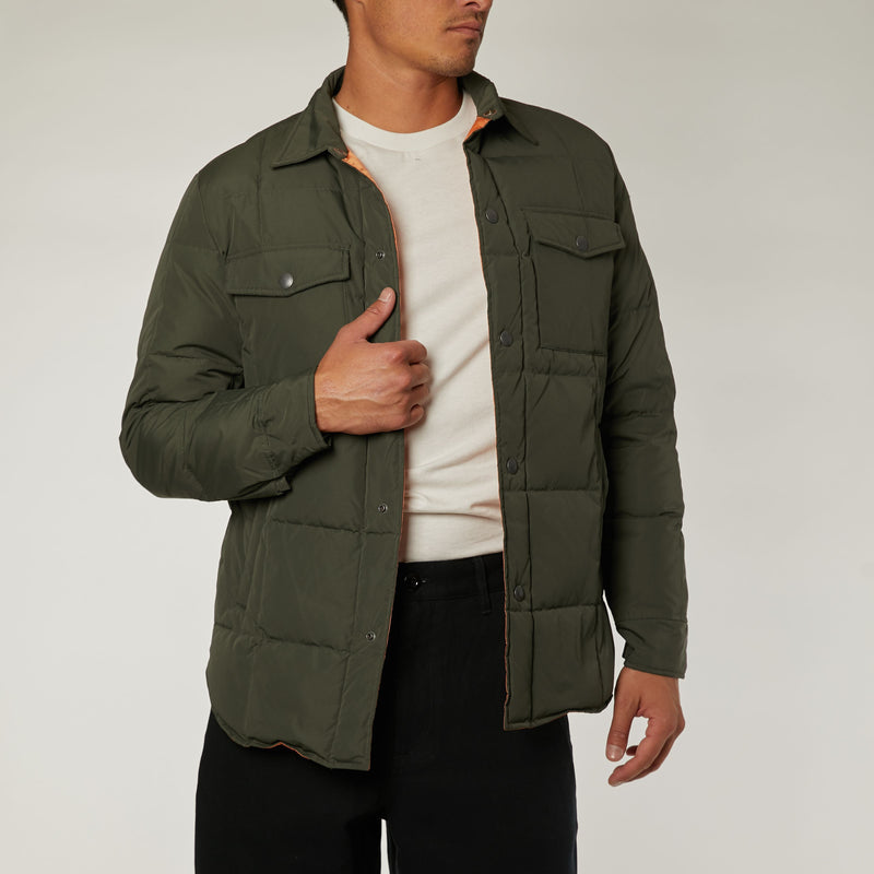 Maxwell Down Puffa Overshirt - Forest Green