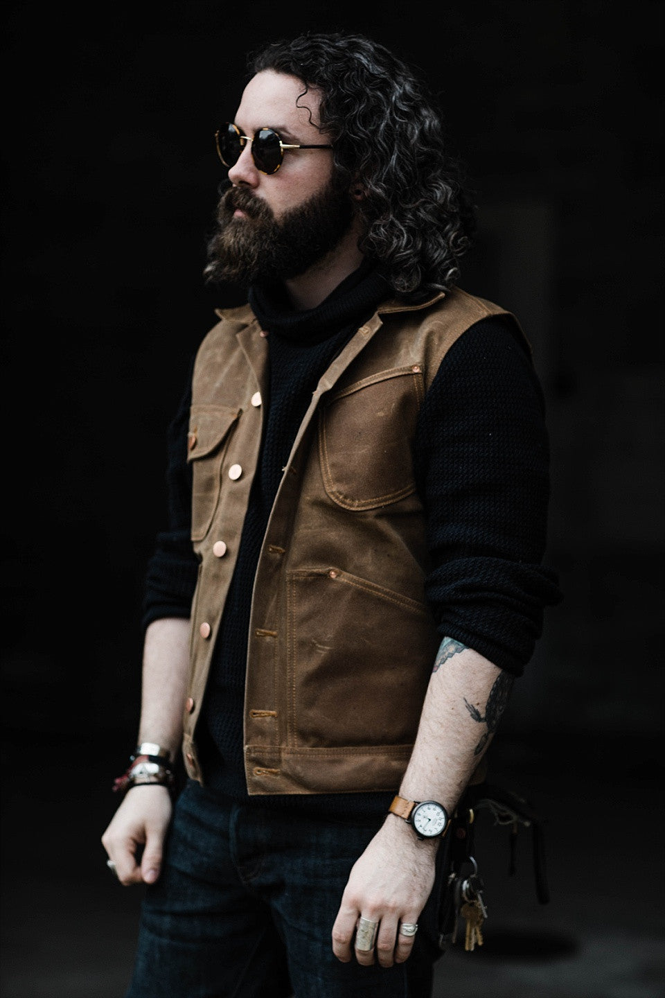 Mercy Supply Co. Vest and Shwood Sunglasses by James Dant