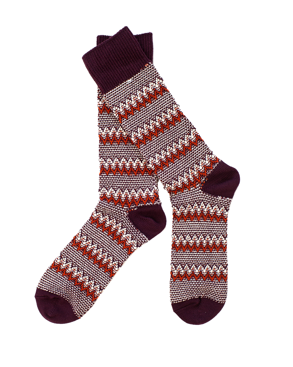 Zigzag Links Crew Sock - Wine