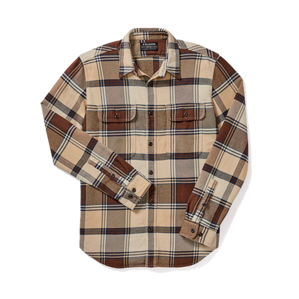 Vintage Flannel Work Shirt - Beige/Navy/Brown