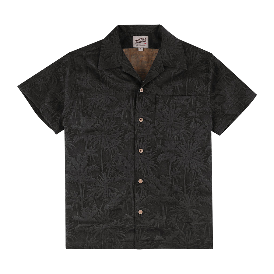 S/S Aloha Shirt Double Jacquard - Tropical Blue