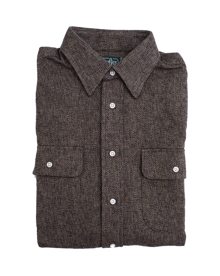 Classic Shirt - Brown Cotton Tweed