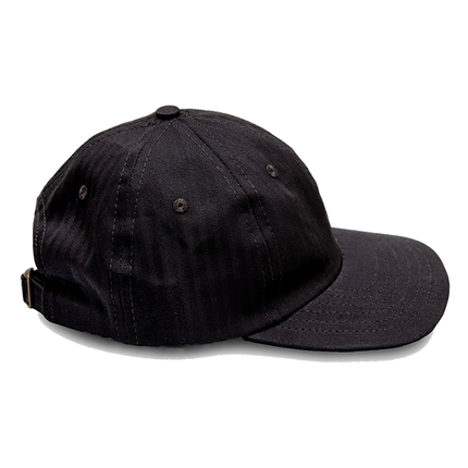 6-Panel Herringbone Twill Cap - Black