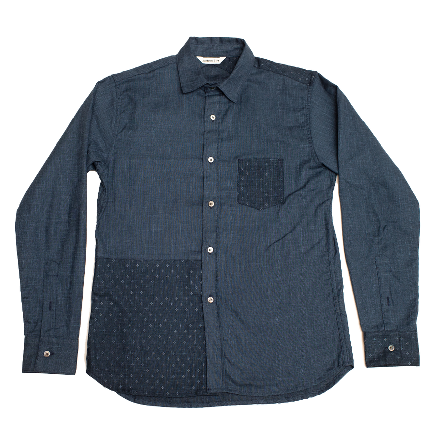 Block Pattern Shirt - Indigo