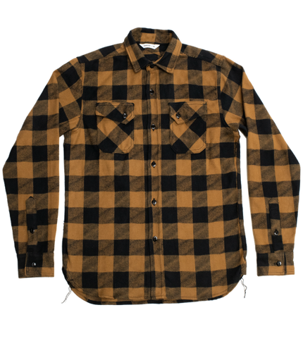 Crosscut Flannel Drunk Check - Mustard, Black