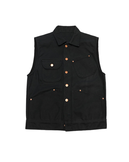 Waxed Canvas Vest Black