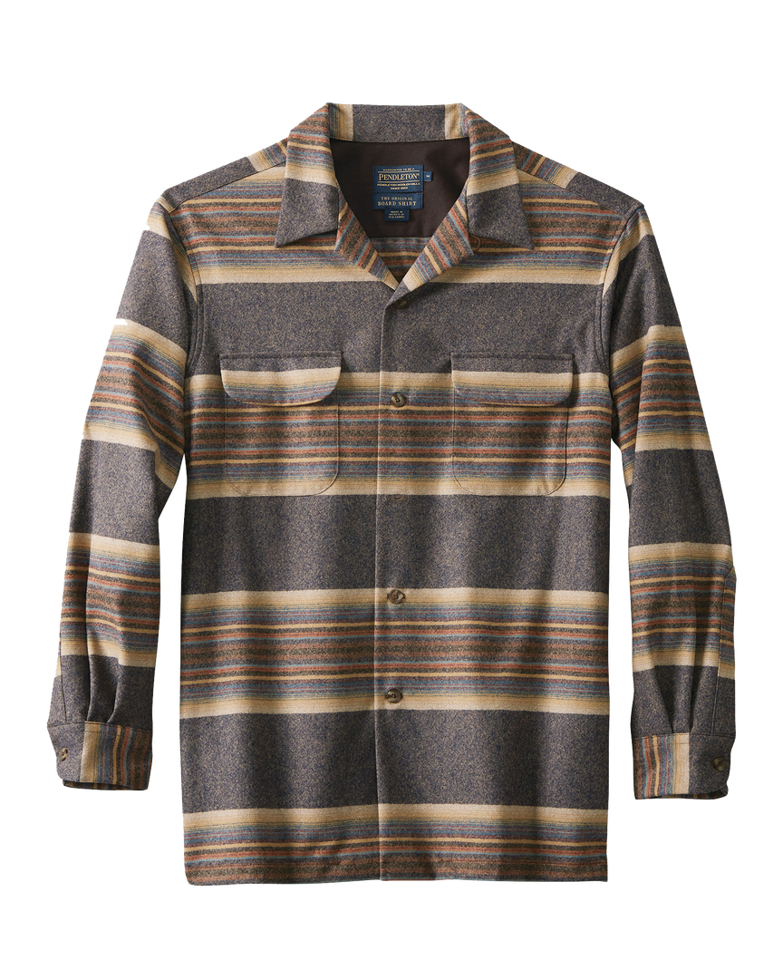 L/S Fitted Board Shirt - Navy/Tan/Blue Stripe