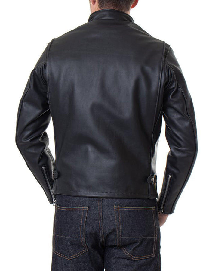 641 - Single Rider Steerhide Leather Motorcycle Jacket - Black