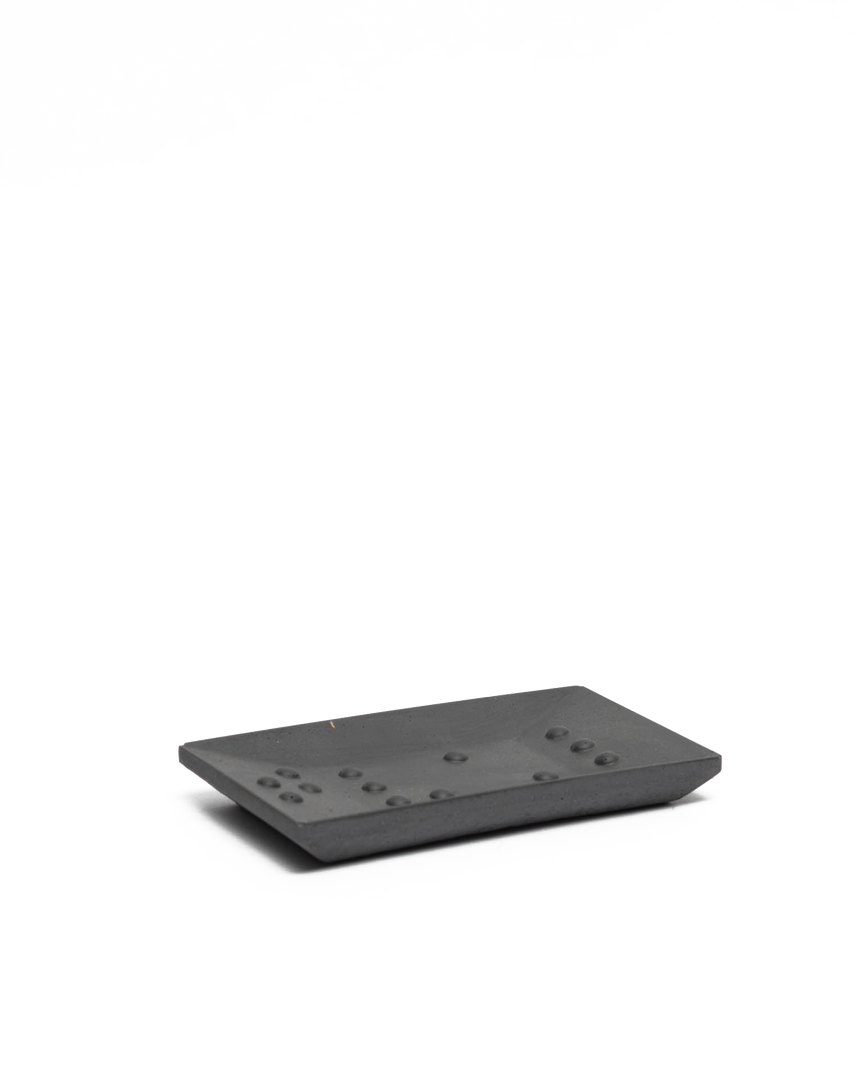 Square Braille Soap Dish Dark Grey