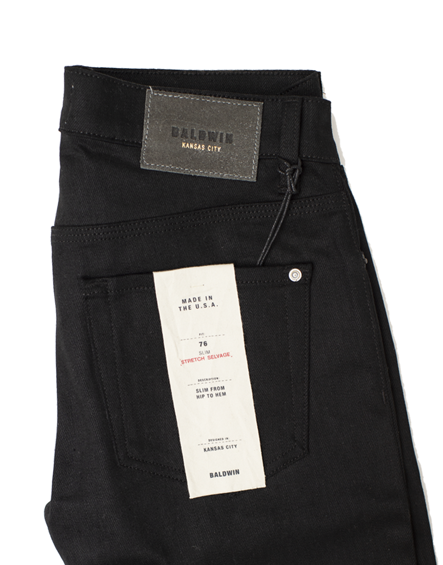 76 Raw Stretch Selvedge - Black