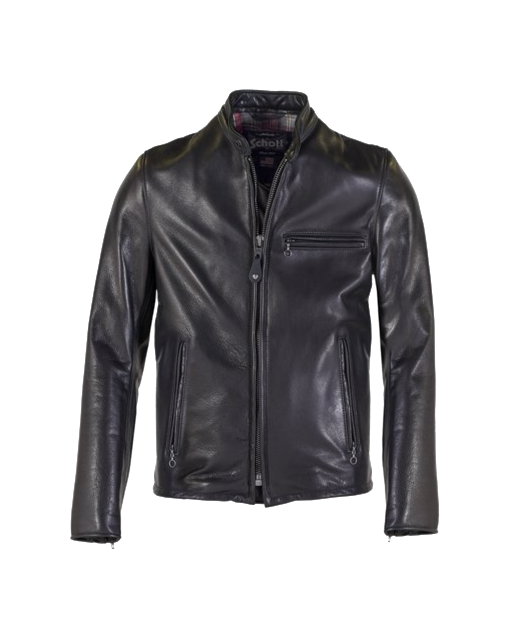 530 - Black Waxed Pebbled Cowhide Café Jacket