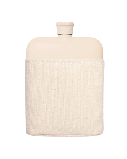 Cream Stainless Flask w/Canvas Carrier