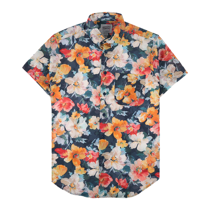 S/S Easy Shirt - Flower Painting Orange