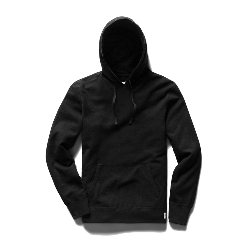 Light Wt Terry Pullover Hoodie - Black