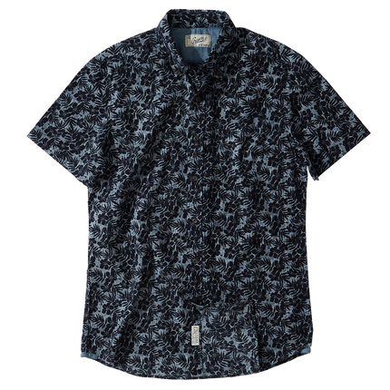 Floral Printed Chambray S/S - Navy