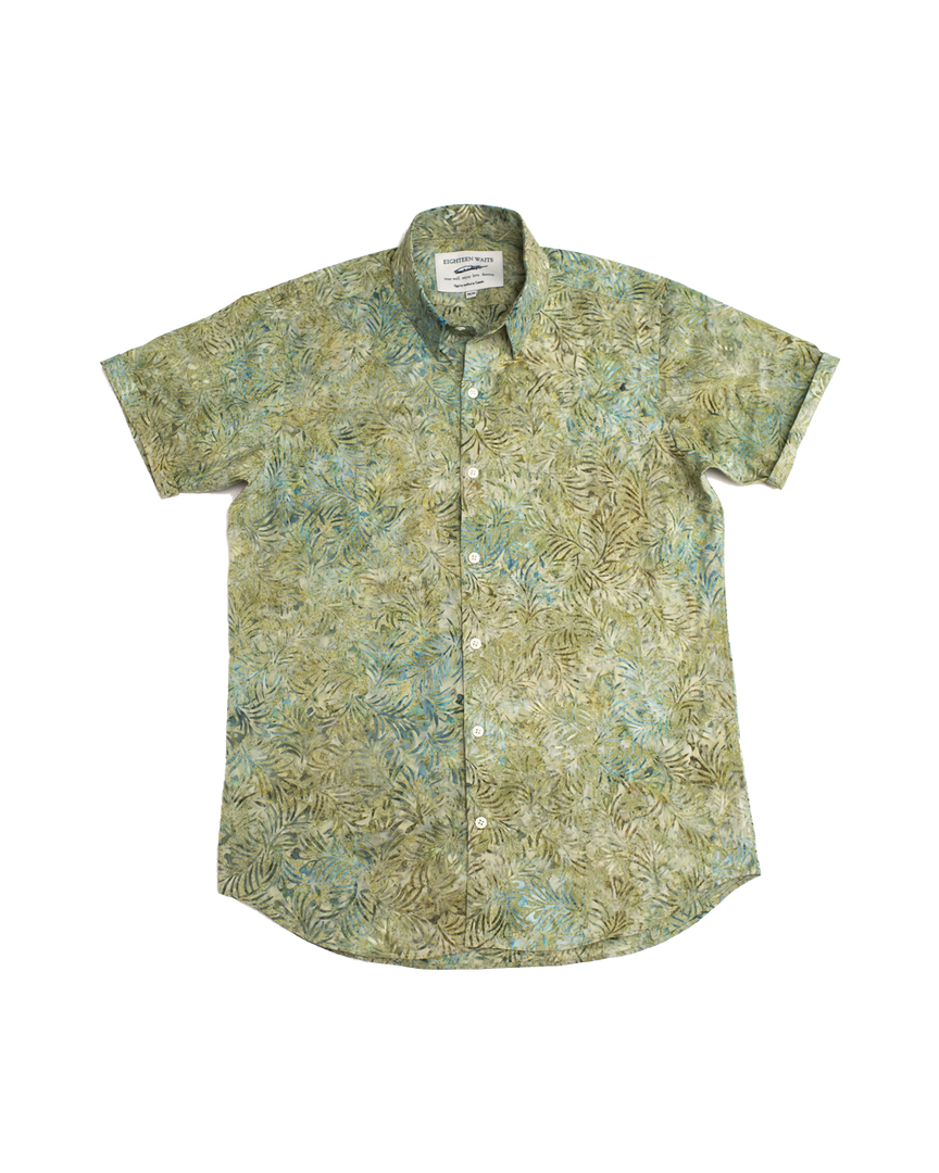 S/S Dylan Button Up - Blue Batik Leaves