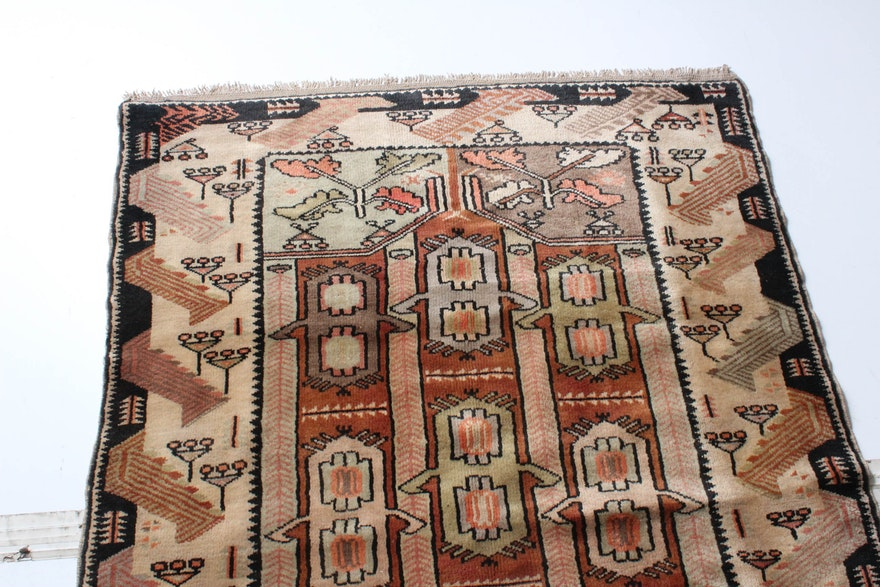 Semi-Antique Hand-Knotted Turkish Oushak Rug