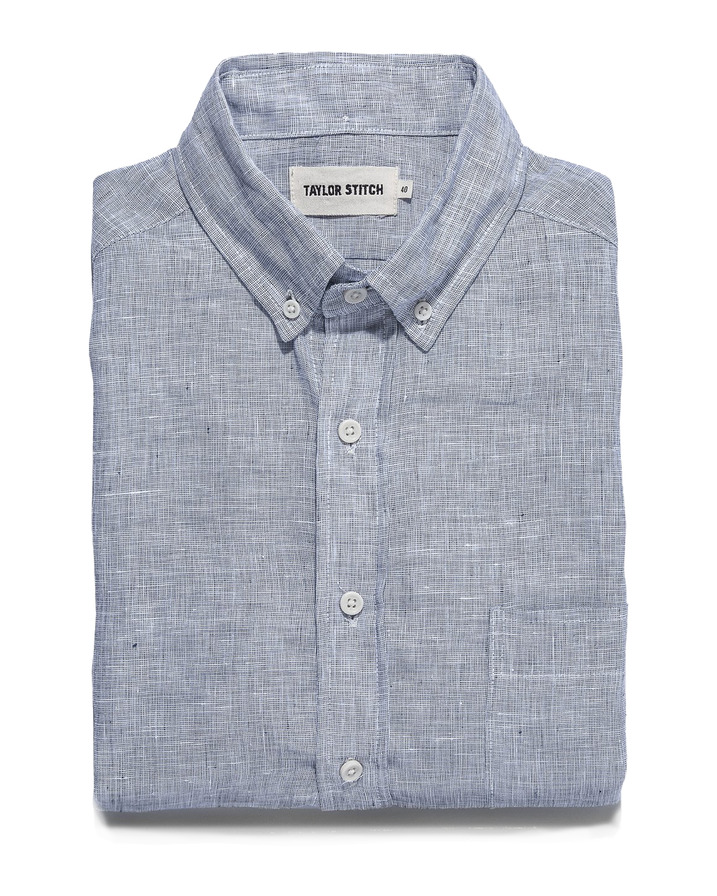 The Jack L/S Button Down - Navy Pin Dot Linen