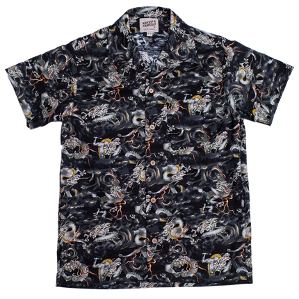 S/S Aloha Shirt - Japanese Dragons - Black