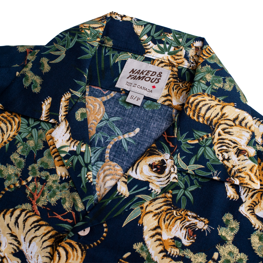 S/S Aloha Shirt - Japanese Tigers - Navy
