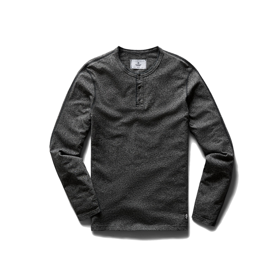 Knit Cotton Jersey Henley L/S - Marled Black