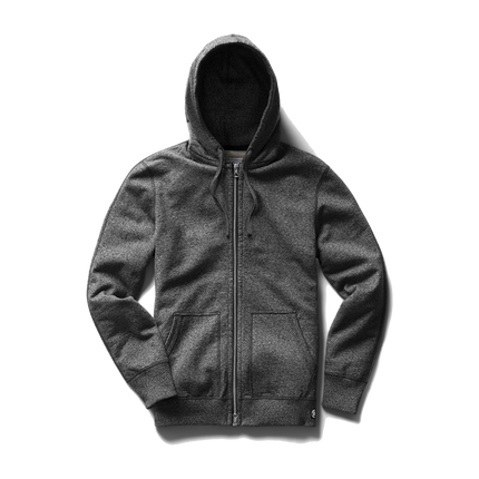 Mid Wt Terry Full Zip Hoodie - Marled Black