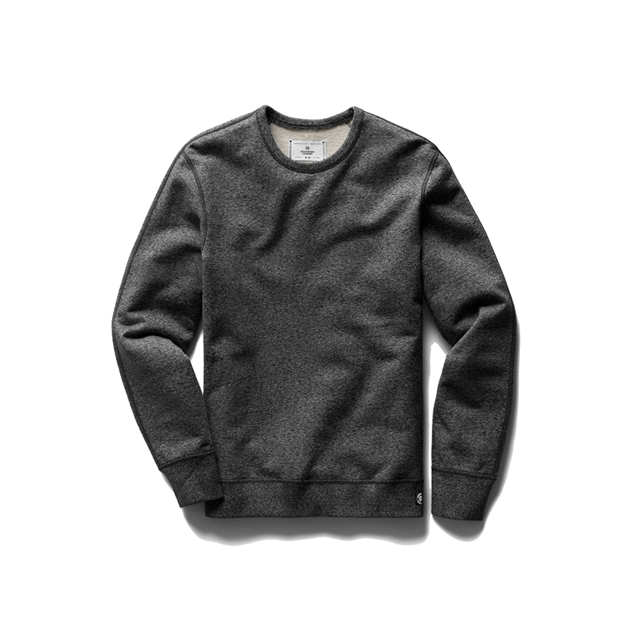 Mid Wt Terry Long Sleeve Crew Neck - Marled Black