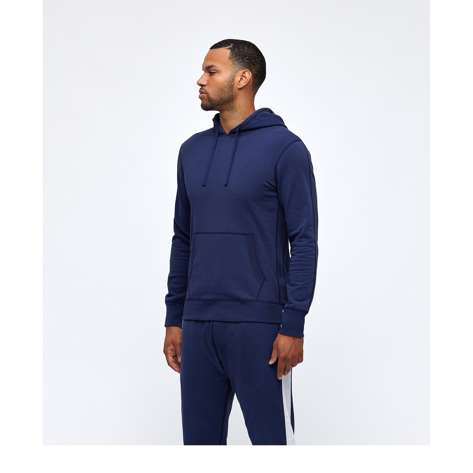 Light Wt Terry Pullover Hoodie - Blue