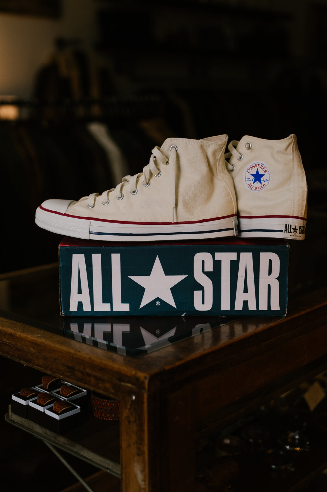 Vintage New Old Stock - OG Converse All Star Hi - Unbleached White - Size 10