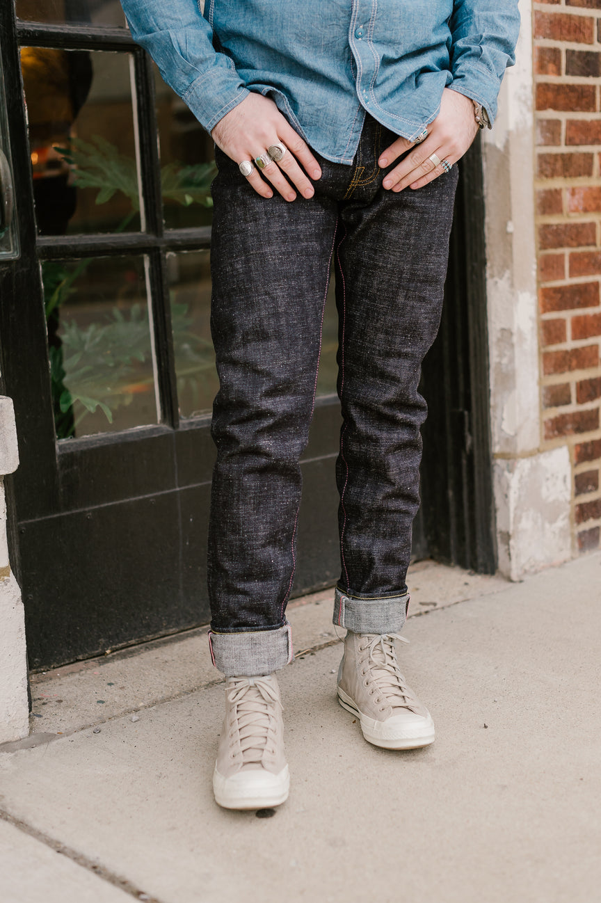 16oz - Texture Selvedge Black Battle Stripes - High Tapered - 0405-82