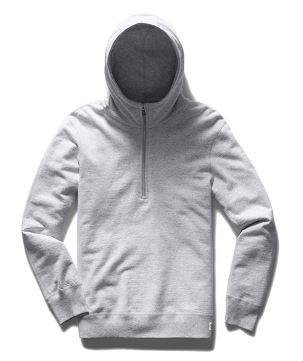 Light Wt Terry Half Zip Hoodie - Ash