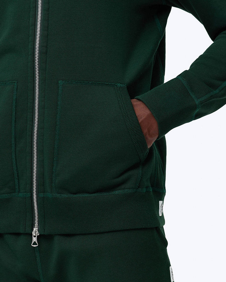 Mid Wt Terry Full Zip Hoodie - Forest Green
