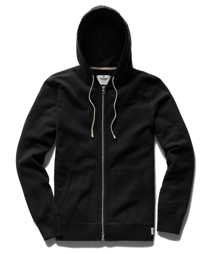 Mid Wt Terry Full Zip Hoodie - Black