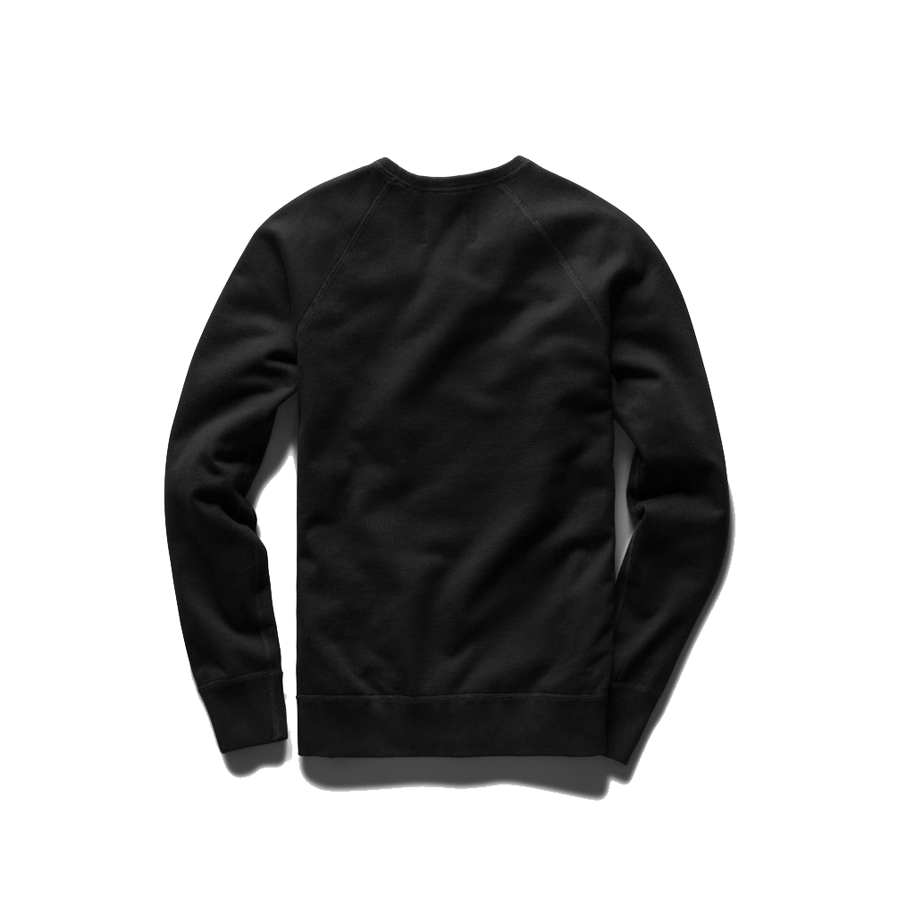 Mid Wt Terry Long Sleeve Crew Neck - Black