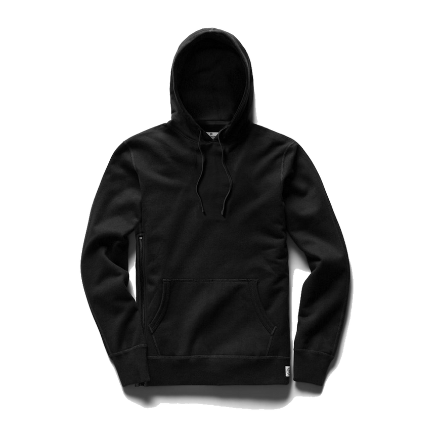 Mid Weight Terry Side Zip Pullover Hoodie - Black