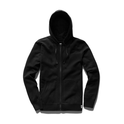 Light Wt Terry Full Zip Hoodie - Black