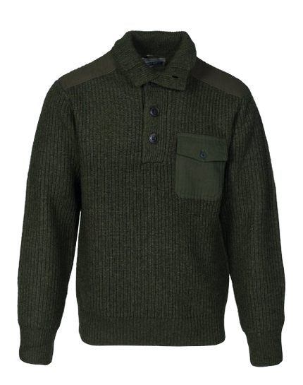 SW1822 - Stand Up Neck Wool Sweater - Olive