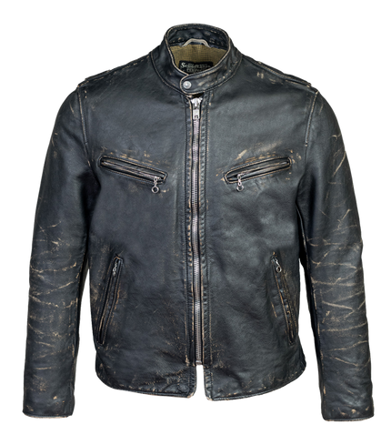 PER41 - Perfecto Heavyweight Hand-Vintaged Cowhide Café Racer - Black