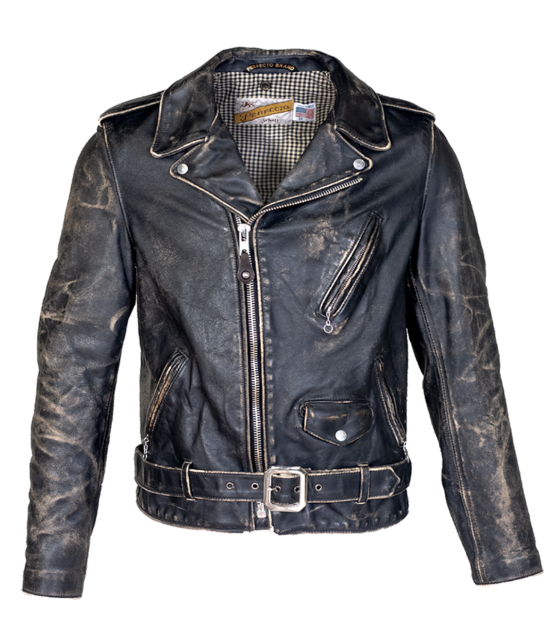 PER70 - Perfecto Heavyweight Hand-Vintaged Cowhide - Black