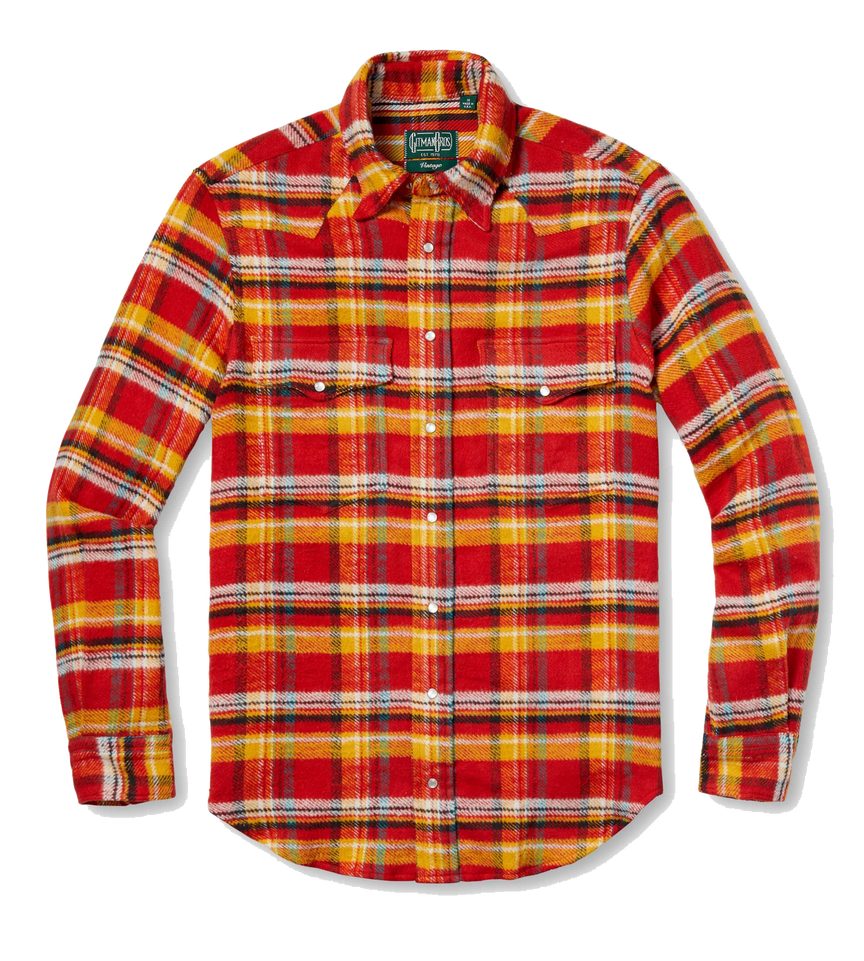 Utah Triple Yarn Flannel Western - Red/Yellow