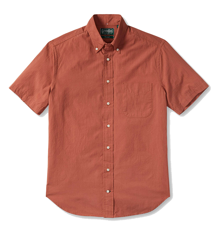 S/S Washer Cloth Button Down - Brick