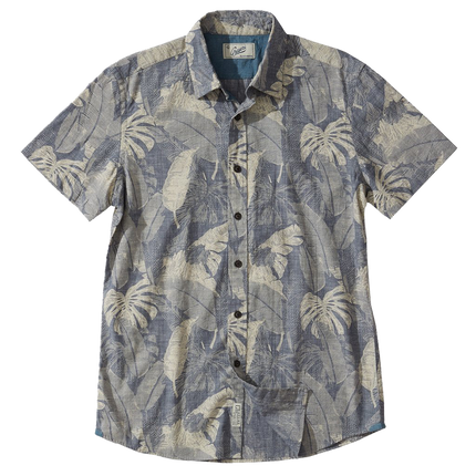 Mr. Chow's Big Leaf Printed Poplin S/S - Indigo