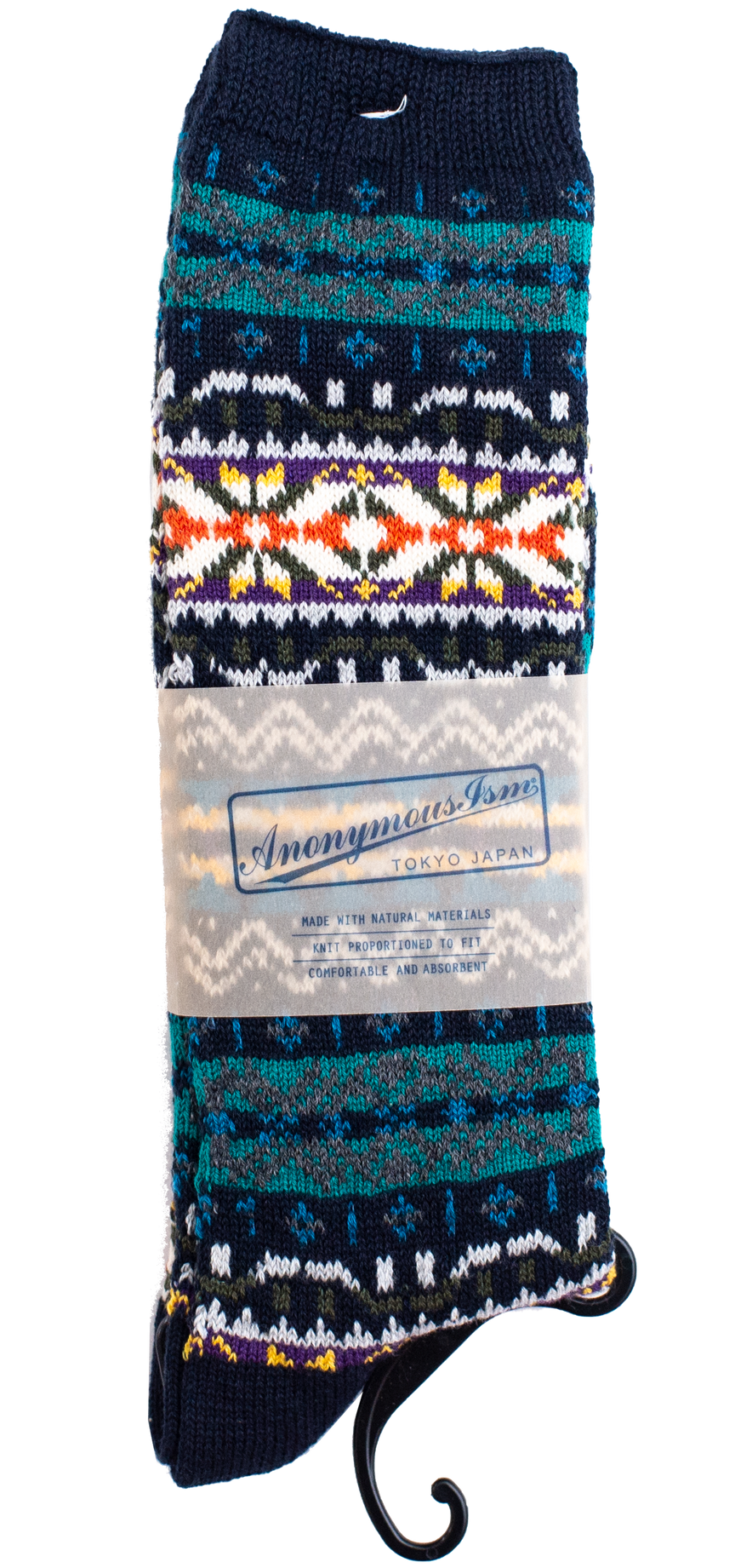 Fairisle Crew Sock - Navy